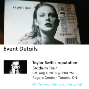 Taylor swift tickets August 4th Toronto