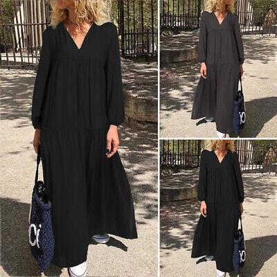 Damen Mode Langarm V Neck Kleid Maxikleid Retro Vintage Plus Kaftan Tunikakleid