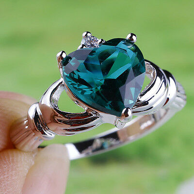 Heart Cut Claddagh Green & White Topaz Gemstone Silver Ring Size 7 8 9 10 Lover