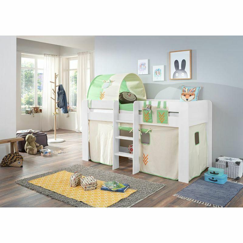 Halbhochbett in weiß 90x200cm Spielbett Dschungel Kinderbett Kinderzimmer Tunnel