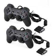2x Manette de contrôleur câblé par Joypad de double choc pour P S2
