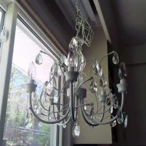 5 light chandelier - light grey frame, sparkly crystals