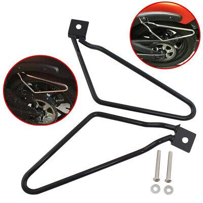 2x Saddle Bag Bracket Holder Support for Harley Sportster 883 Iron Dyna Fat bob Black Iron Cross Saddlebags