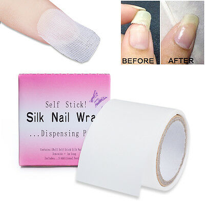 Adhesive Nail Silk Repair Wrap Stickers Extension Manicure Forms w/ Dispenser