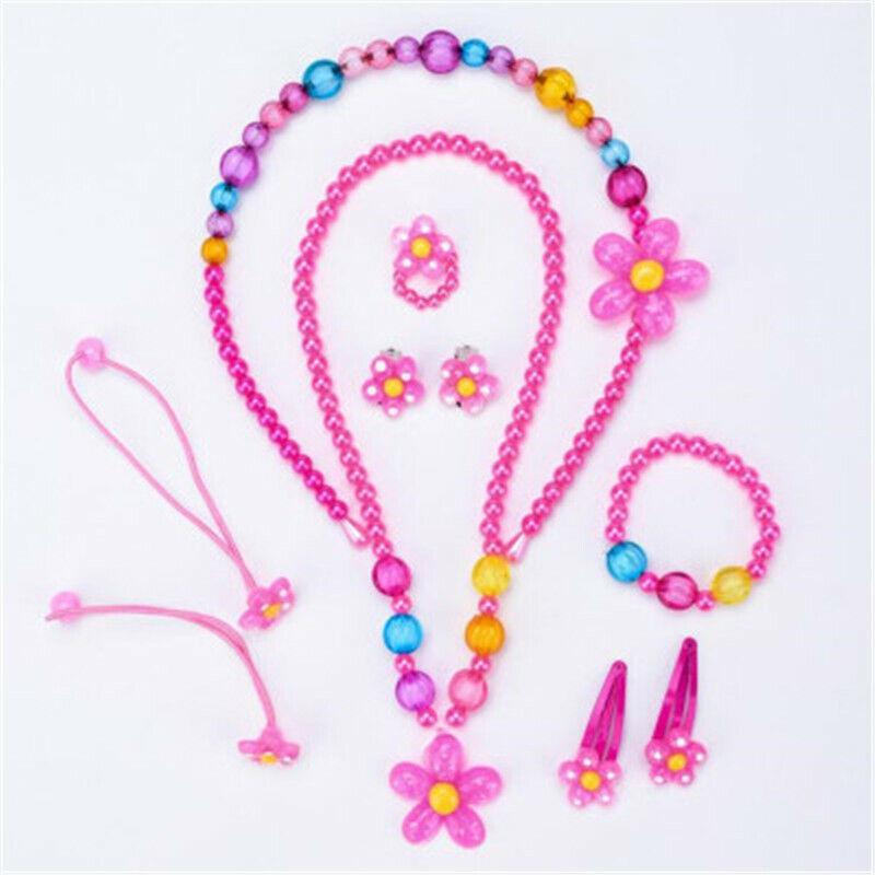 Jewellery - Necklace Bracelet Ring Earrings Set Jewellery Gift Kids Cute Girl Beads 10 pcs