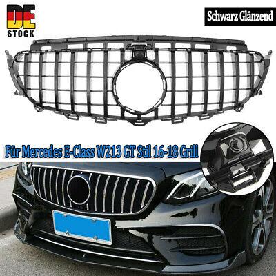 für Mercedes GT LOOK Grill W213 E200 GLANZ SCHWARZ Kühlergrill Frontgrill 16-18