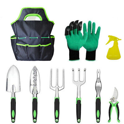 Garden Tools Kit 9 Piece Gardening Set with Heavy Duty Bag Hand Planting Tool