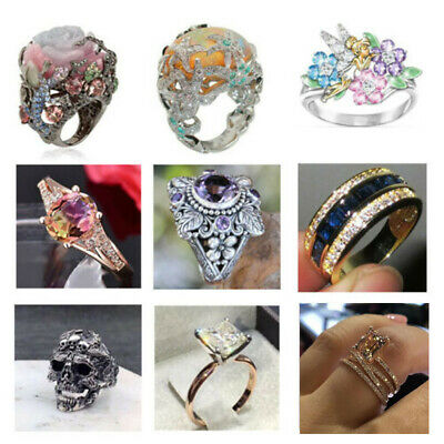 Turkish Rose Gold Flower Multi-Color Gemstone Vintage Wedding Ring Jewelry Gift - Rose Gold Wedding Colors