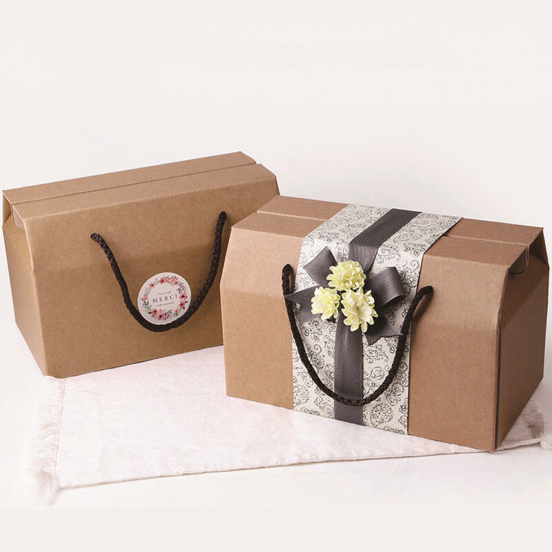 10Pcs Brown Corrugated Paper Gift Box Handle Craft Bags Wedd