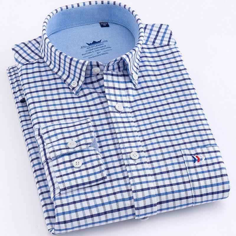 Mens Dress Shirts Short Sleeves Luxury Casual Plaids Checks Slim Camisas ED102