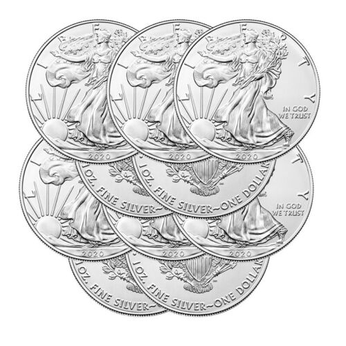 Lot of 10 Silver 2020 American Eagle 1 oz. US Mint .999 fine silver 1oz Eagles