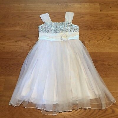 MY MICHELLE White Tank Top Sparkle Tulle Flower Girl Formal Party Dress Size 12