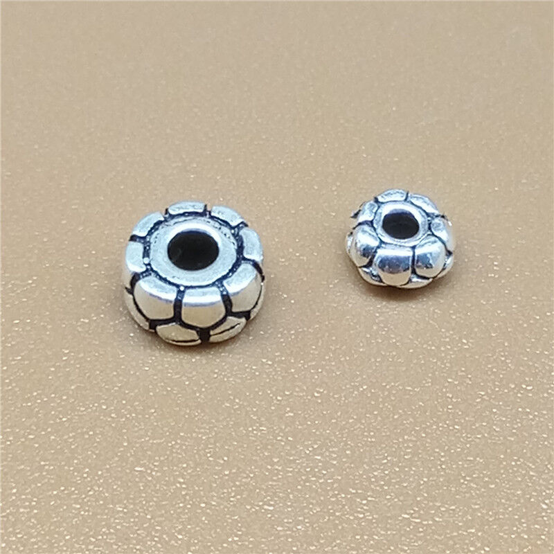8pcs .925 Sterling Silver Bali Bead Flower Cap 4 x 5mm//Findings//Bright