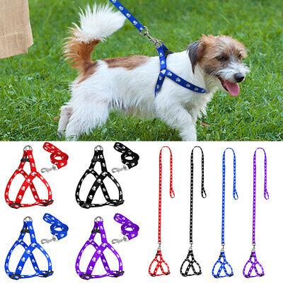 Soft Cute Nylon For Dog Pet Puppy Harness Leash Set Paw Print Adjustable Collar