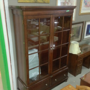 Large Wooden Hutch with Glass Shelves