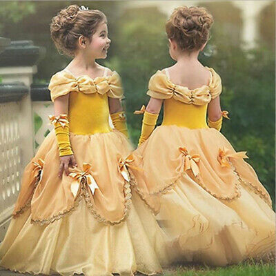Girls Belle Dress (Beauty and the Beast Belle Princess Dress Kids Girl Halloween Cosplay)