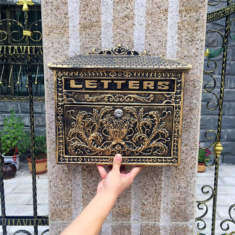 European Retro Vintage Wall Mount Locking Mailbox Cast Iron Aluminum Letter Box