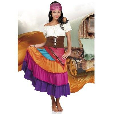 WOW Zigeunerin Damen Kostüm Gr. 44/46 (L/XL)  Kleid,Gürtel,Kopftuch bunt   #8777