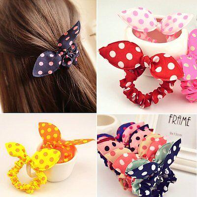 10 Pcs Animal Bunny Ear Dot Scrunchie Hair Ring Band Elastic
