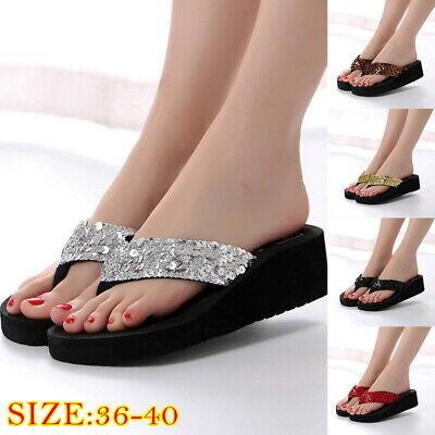 Women Girls Summer Wedge Flip Flops Sandals Sequin Thong  beach Slippers ()