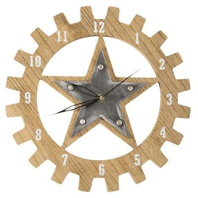 Dekorative Wanduhr 30cm Uhr Modern Stern Rund Holz Metall Wohnzimmer TEXA01