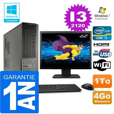 PC DELL 3010 DT Core I3-2120 Ram 4Go Disque 1 To Wifi W7 Ecran 22