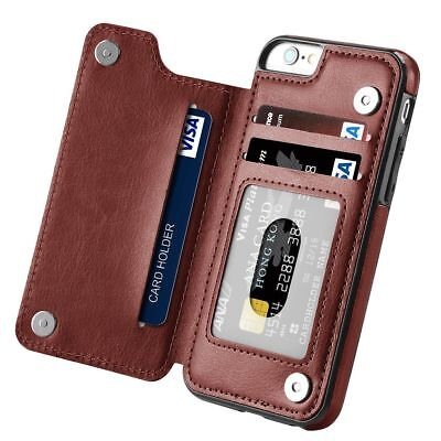 Magnetic Leather Wallet Case Card Slot Shockproof Flip Cover for iPhone 8 Plus