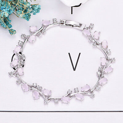 Platinum Plated Charm - Beauty Floral Vine Style Sweet Rose Quartz Gems Platinum Plated Charm Bracelets