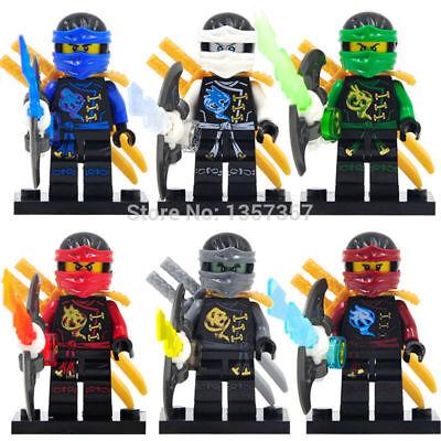 Ninjago Toy Boys Ninja Mini Figures X 6 Kai,Cole,Lloyd,Nya,Jay & Zane fit lego B