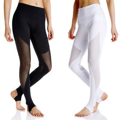 Full Length Mesh Pocket - Women's Mesh Yoga Leggings for Fitness Full Length with Pocket Black and White