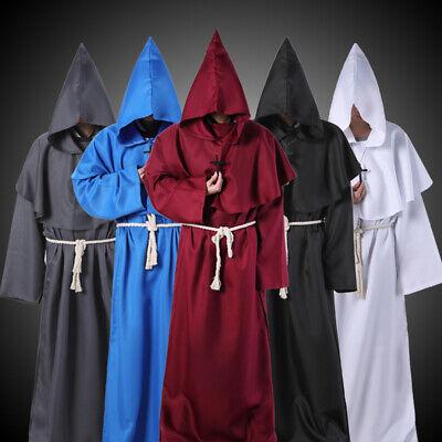 Halloween Costume Adult Mens Holy-Er Than Hooded Thou Priest Vicar Robe Dress