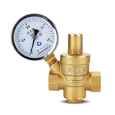 12dn15 Bspp Brass Water Pressure Reducing Valve With Gauge Flow Adjustable