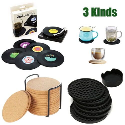 3 Kinds Of Coasters With Holder Silicone Cork Cup Pad Tea Drink Coffee Mat Decor