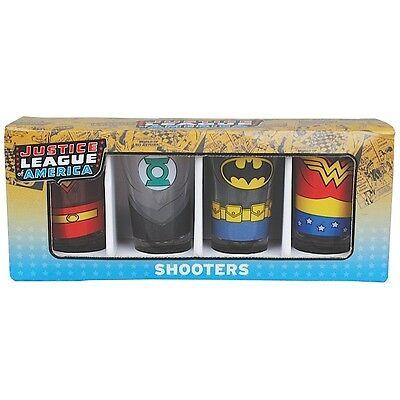 JUSTICE LEAGUE AMERICA 4 PACK SHOT GLASSES BATMAN SUPERMAN WONDER WOMAN SHOOTER