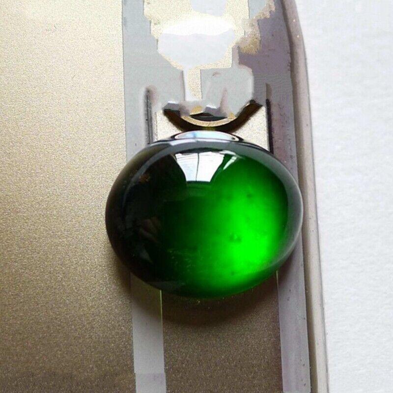 Burma Certified Grade A Ice Black Jadeite Loose Gemstone Ring surface Or Pendant