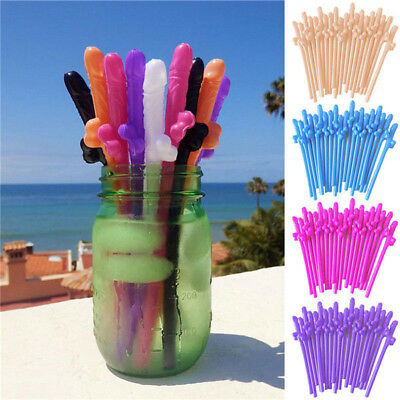 10pcs Hens Night Bachelorette Adult Party Willy Plastic Dicky Sipping Straws  - Plastic Straws