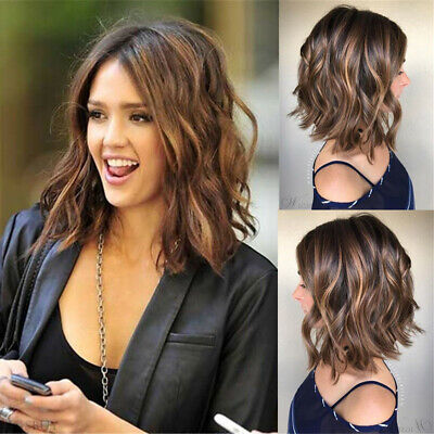 Short Loose Wavy Bob Lace Front Hair Wigs Women Brazilian Black Brown Full Wig  - Short Black Hair Wig