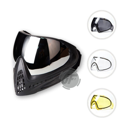 Tactical Paintball Goggle Thermal Full Mask Anti-Fog Lens High Vision Airsoft