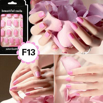 New 24Pcs French Acrylic False Fake Nail Art Fingernail Full Tips VV - $6.06