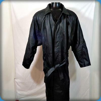 FLUID Trench Coat Long Leather Spy Jacket Mens Size L black belted w/ liner