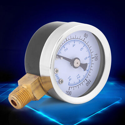 0-200psi 0-14bar Hydraulic Water Pressure Gauge 40mm Dial Meter 18 Npt Pk