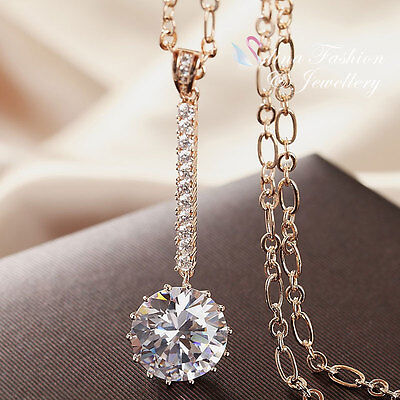 18K Rose Gold Plated Extra Sparkling Simulated Diamond Stick Drop Long Necklace