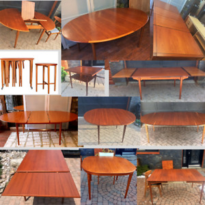 REFINISHED TEAK WALNUT ROSEWOOD MCM TABLES from $499 chairs $175