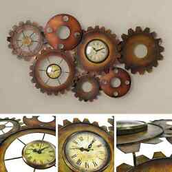 Large Vintage Wall Clock Retro Antique Home Decor Steam punk Metal Gear Art Room