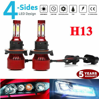 pair 4-sides H13 9008 LED Headlight Kit 2000W 6000K 300000LM Hi/low Beam Bulbs