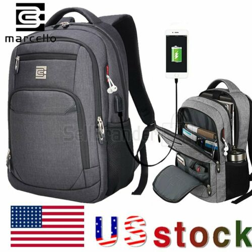 MARCELLO Laptop Backpack Business Travel USB Charging Port C