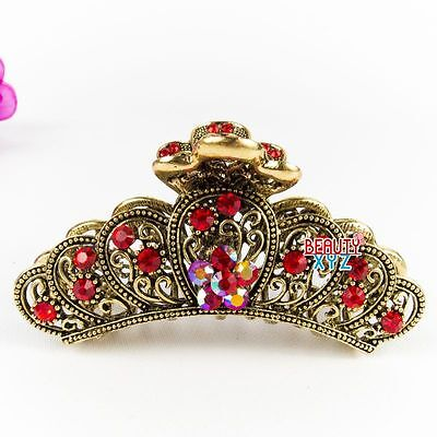New Red Women Flower Rhinestone X-Large Metal Claw Hair Clip Antique Silver