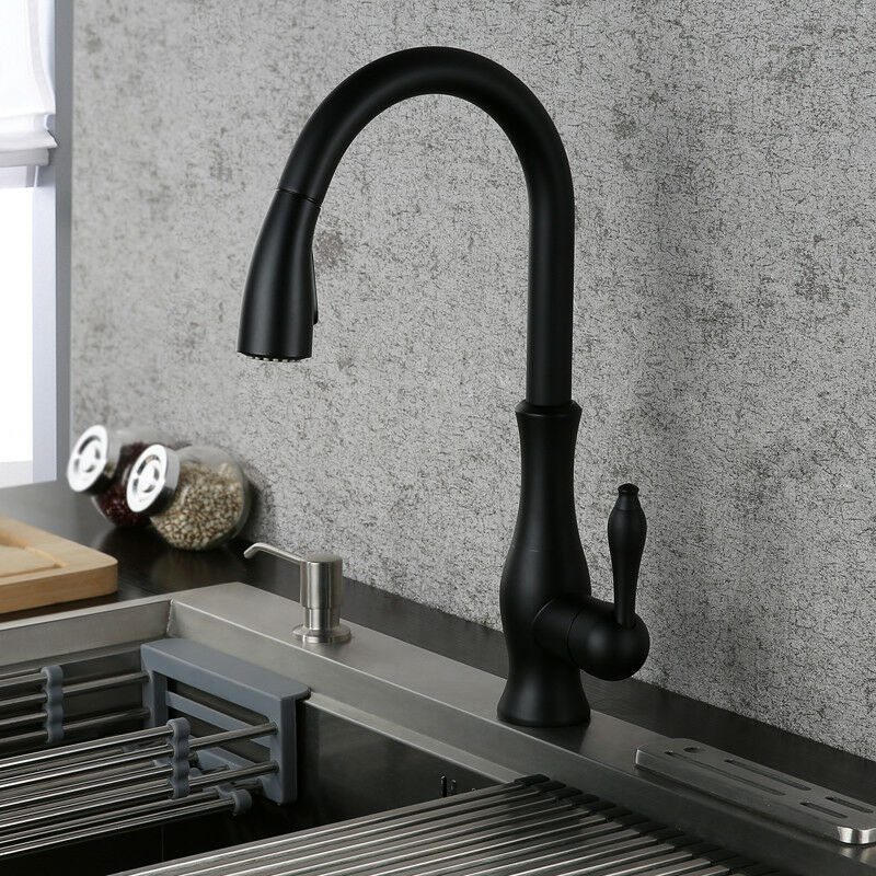 Black Finish Bathroom Kitchen Sink Faucet Deck Mount Pull Out Dual Water Setting Ebay