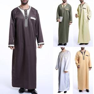 Hombre-SAUDI-Thobe-jubba-Qatari-Cuello-Arabe-Vestido-Islamico-ropa-talla-grande
