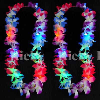 100 PCS Light-Up Leis Hawaiian LED Luau Necklace Flashing Rave Blinking Flower ](Blinking Necklace)